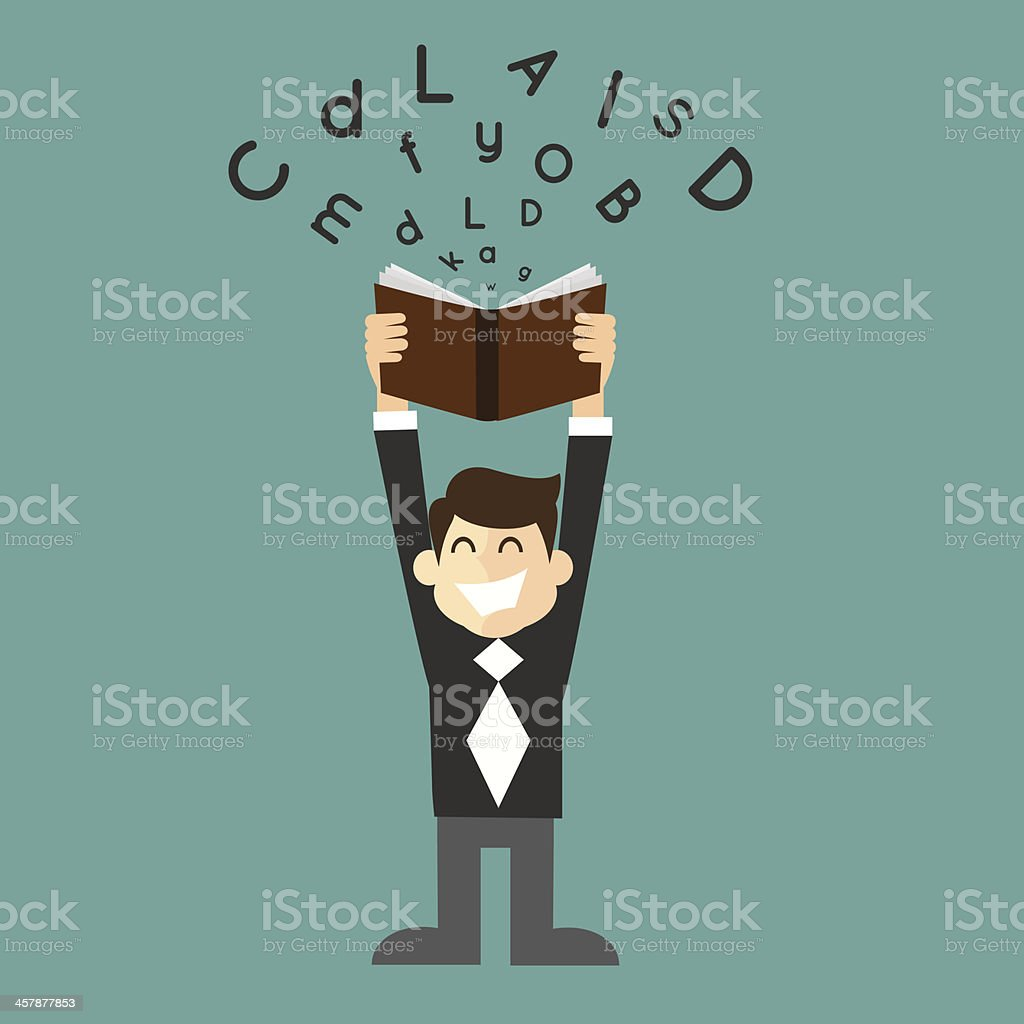 businessman student with a book in hand vector art illustration