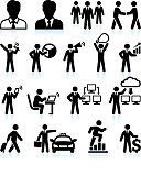 Businessman Success black & white royalty-free vector interface icon set
