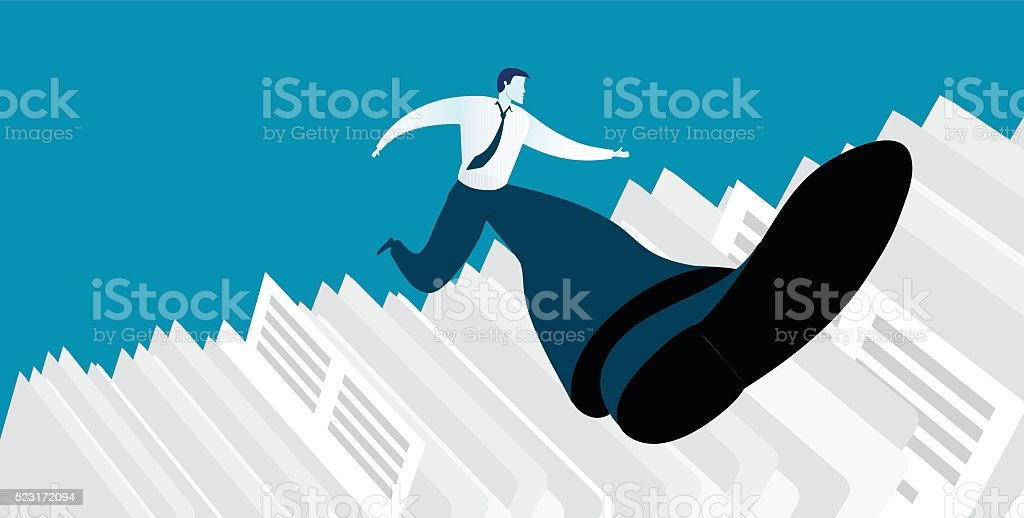 Businessman successful in overcoming paperwork challenge vector art illustration