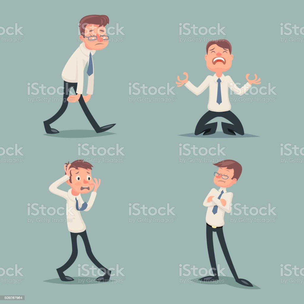 Businessman Suffer Emotion Fear Horror Depression Sadness Anger Arrogant Contempt vector art illustration