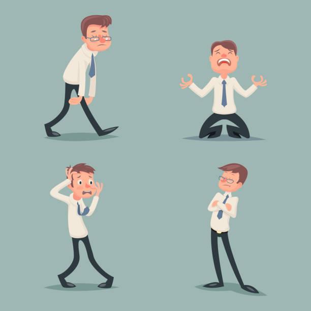 ilustrações de stock, clip art, desenhos animados e ícones de empresário sofre emoção receio de horror depressão, tristeza cólera arrogante desprezo - deceção