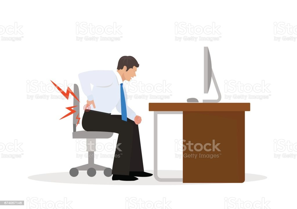 Businessman Suffering from Backache. Businessman at Work. illustration royalty-free businessman suffering from backache businessman at work illustration stock vector art & more images of adult
