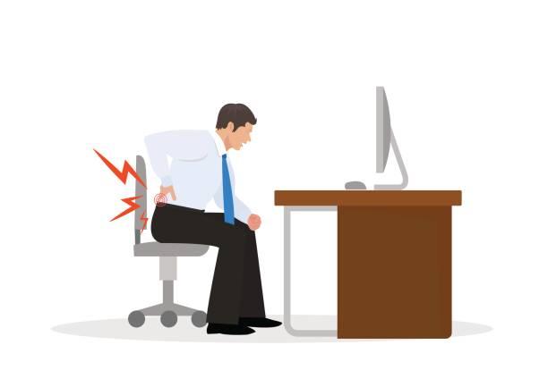 Businessman Suffering from Backache. Businessman at Work. illustration Businessman Suffering from Backache. Businessman at Work. illustration backache stock illustrations