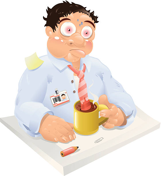 stockillustraties, clipart, cartoons en iconen met businessman suffering from burn out syndrome (vector) - dubbelopname businessman