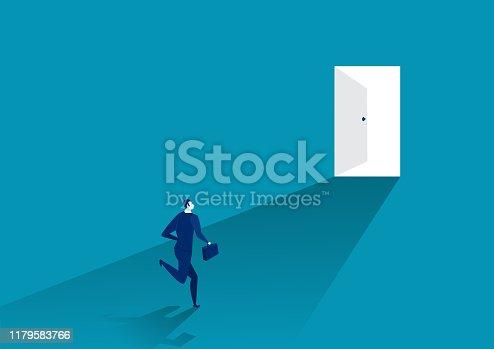 businessman suit run in front of an open door, vector illustrator.