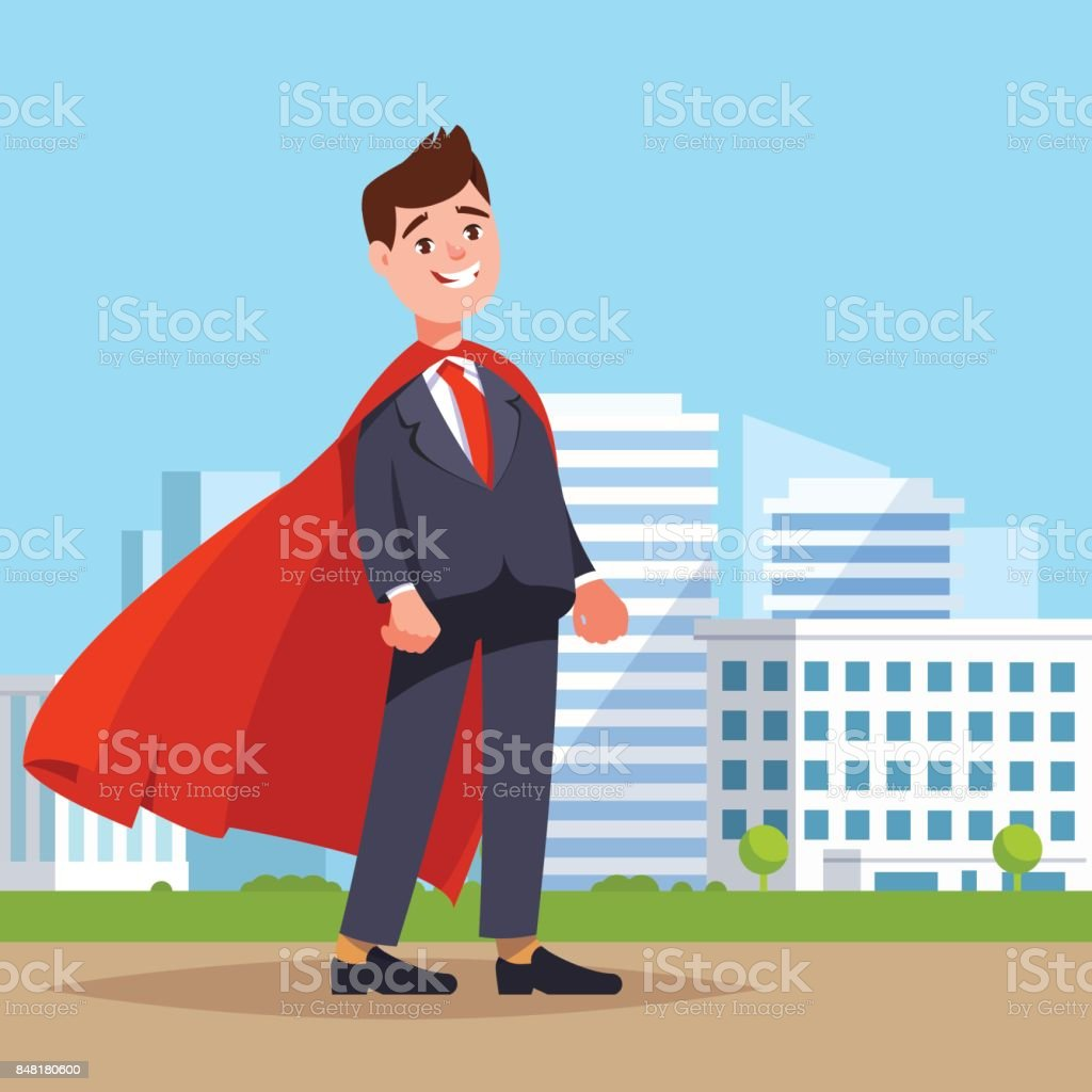 Businessman Superhero Flying In Red Cape Stock Illustration - Download  Image Now
