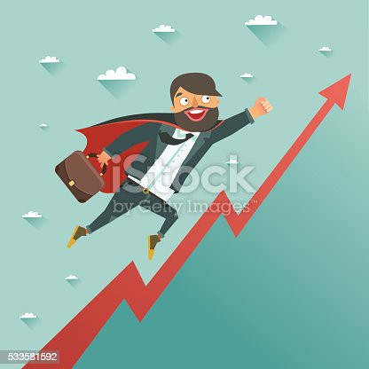 620402800istockphoto Businessman superhero flying to achieve his goal 533581592