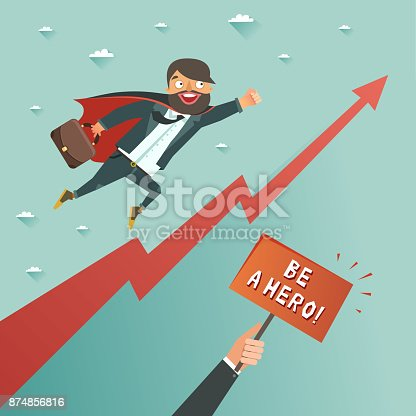 620402800istockphoto Businessman superhero flying to achieve his goal 874856816