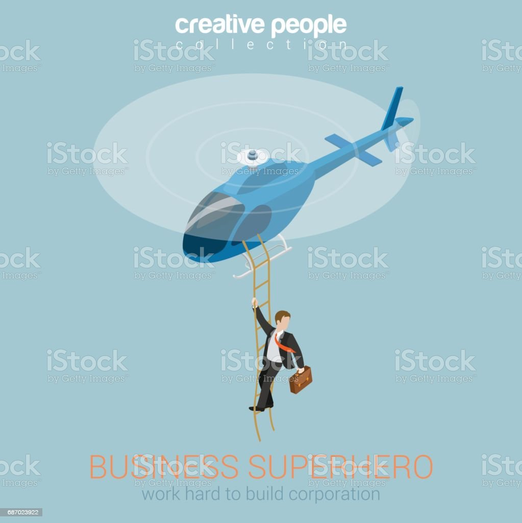 Businessman superhero on helicopter concept flat 3d web isometric infographic vector. Success and leadership, hard work and reward, security service super agent. Creative people collection. vector art illustration