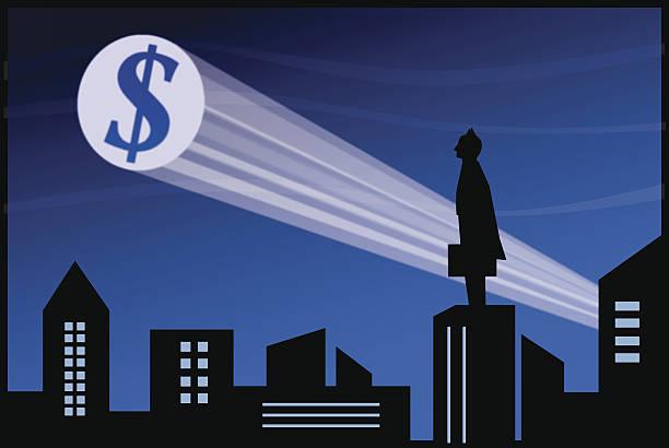stockillustraties, clipart, cartoons en iconen met businessman superhero - spotlicht belichting