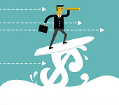 Businessman surfing on Dollar wave, Using Telescope, Concept business vector illustration.