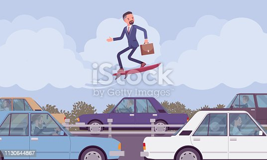 Businessman surfing on modern speed board over traffic jam. Creative adventurous male manager takes risks, entrepreneur tries out new business methods, ideas and gets high above. Vector illustration