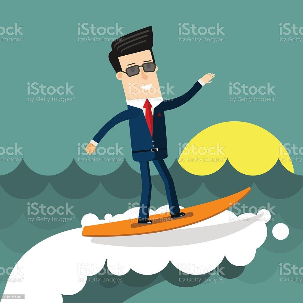 Geschäftsmann Beim Surfen Auf Den Wellen. Business Konzept Illustration Wohnung  Gestaltung Lizenzfreies Vektor