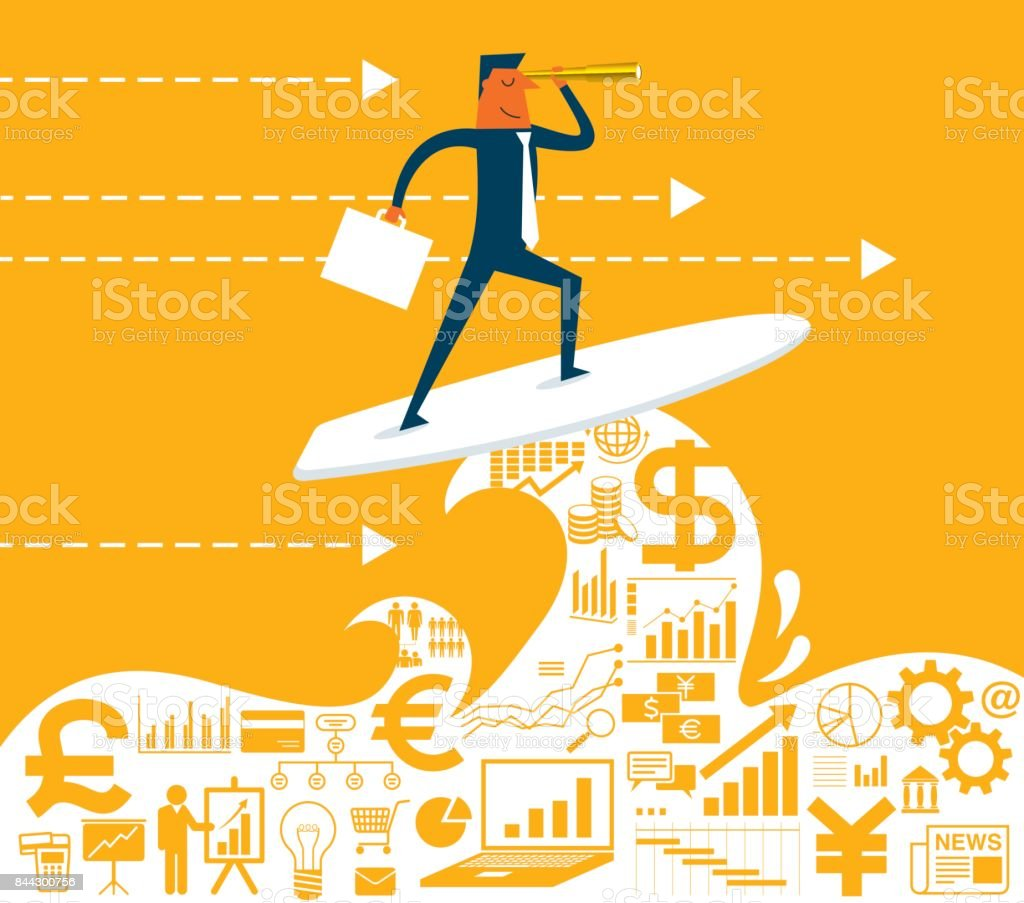 Businessman surfing on wave vector art illustration