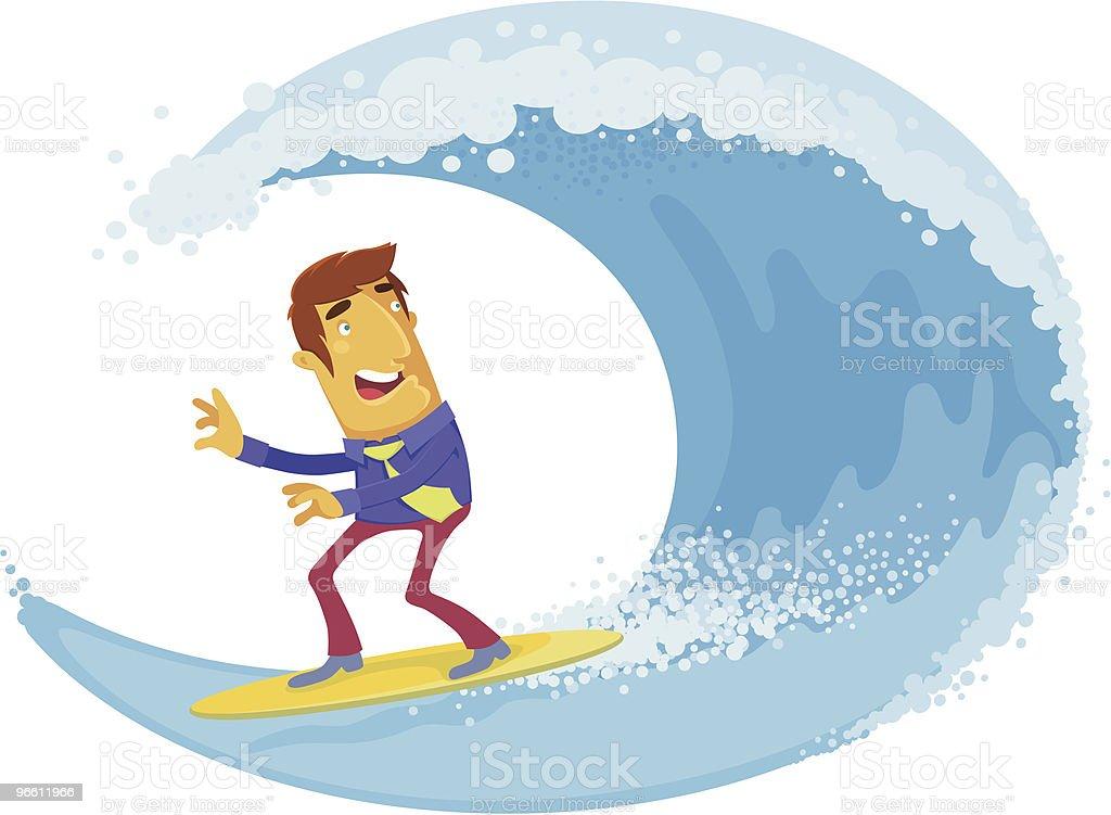 businessman surfing - Royalty-free Alleen volwassenen vectorkunst