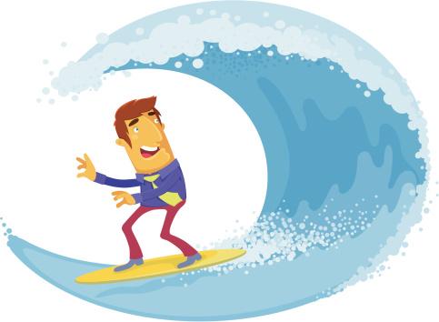 Businessman Surfing Stockvectorkunst en meer beelden van Alleen volwassenen