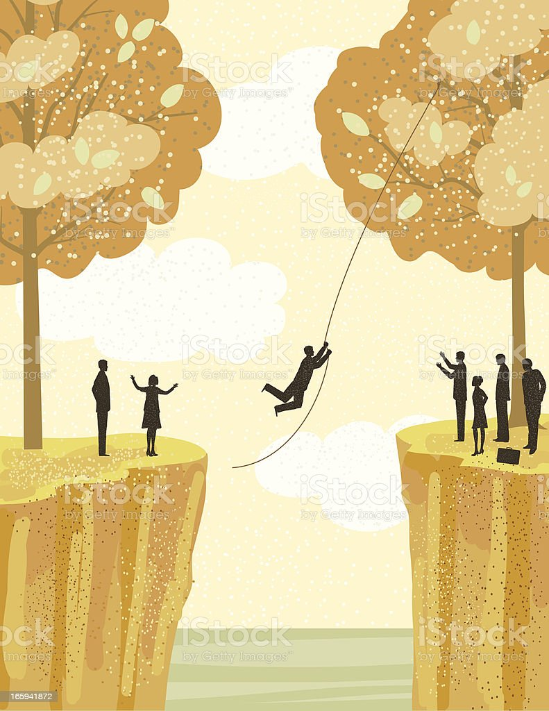 Businessman Swinging from A Rope Between Two Cliffs royalty-free stock vector art