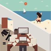 Vector cartoon of Businessman take a break during working