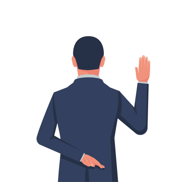 Businessman taking oath Businessman taking oath. Dishonest politician. Hand in the oath is raised up. Lying and corruption. Hand with crossed fingers behind back. Vector illustration flat design. dishonesty stock illustrations