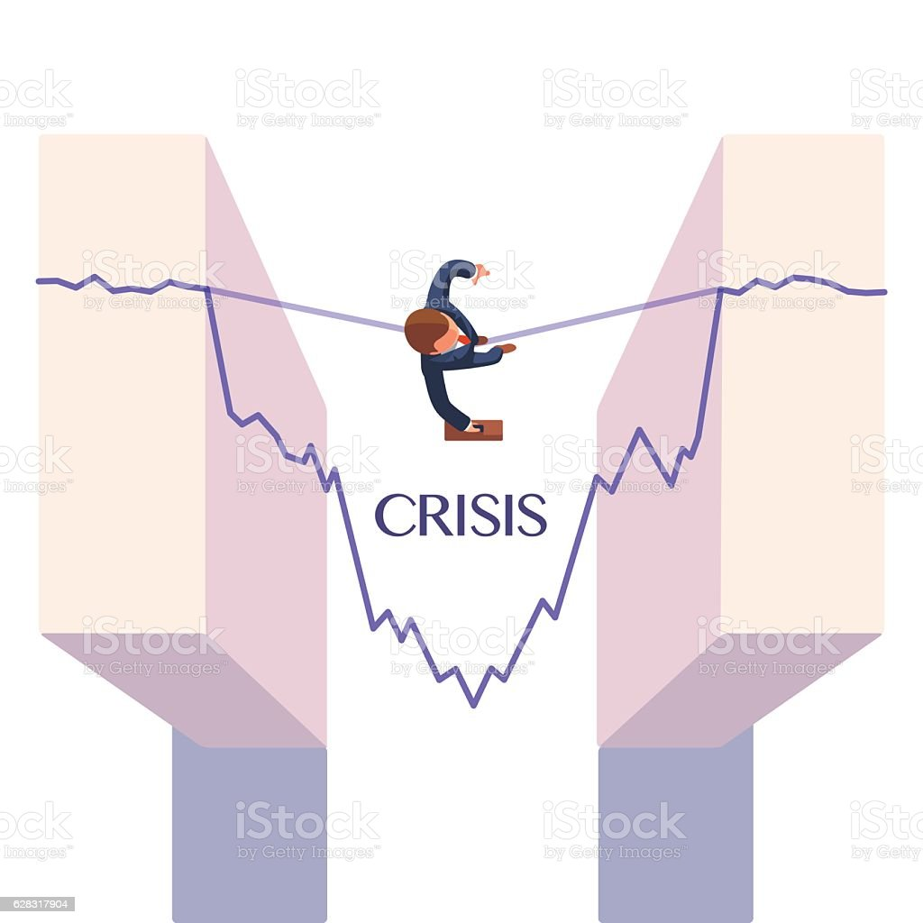 Businessman taking risk. Business metaphor vector art illustration