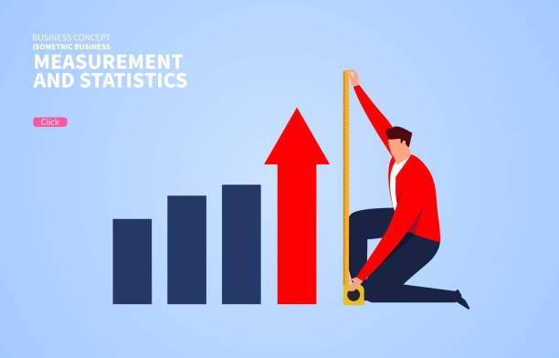 줄자를 측정하고 비즈니스 개발의 높이를 계산하는 사업가 - 측정 장치 stock illustrations