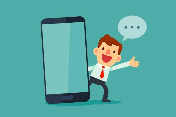 Geschäftsmann sprechen neben großen Smartphone mit leerer Bildschirm – Vektorgrafik