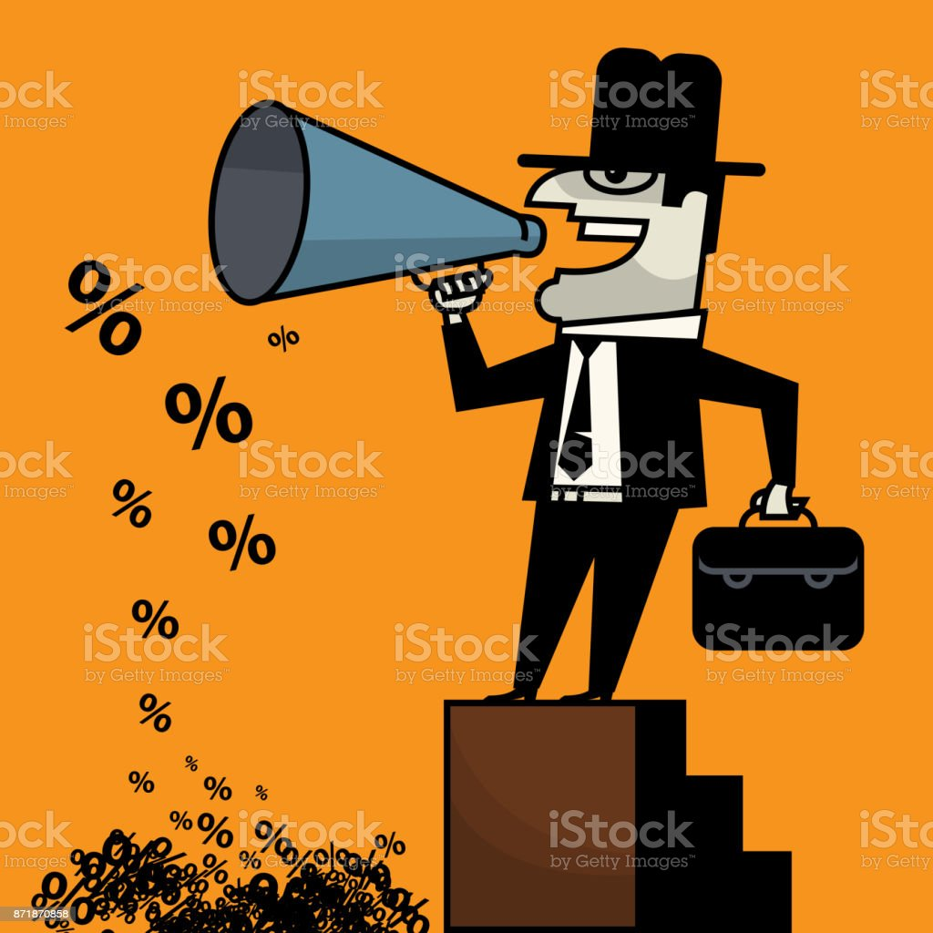 Businessman talking into bullhorn vector art illustration