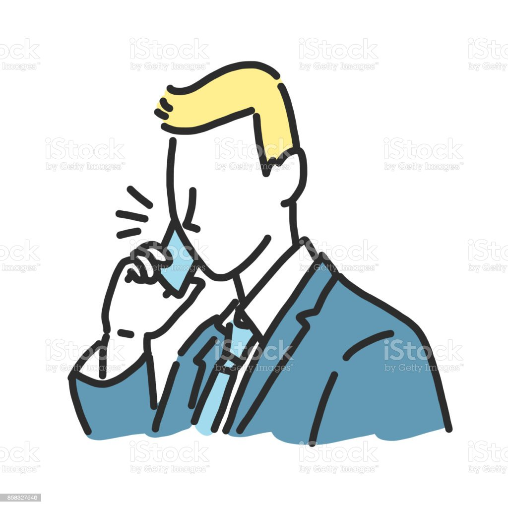 businessman talking on the phone. line drawing illustration in various poses. vector art illustration