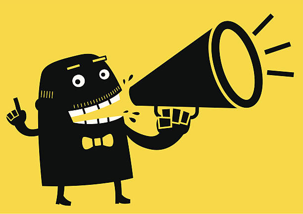businessman talking with megaphone | yellow business concept - old man crying clip art stock illustrations, clip art, cartoons, & icons