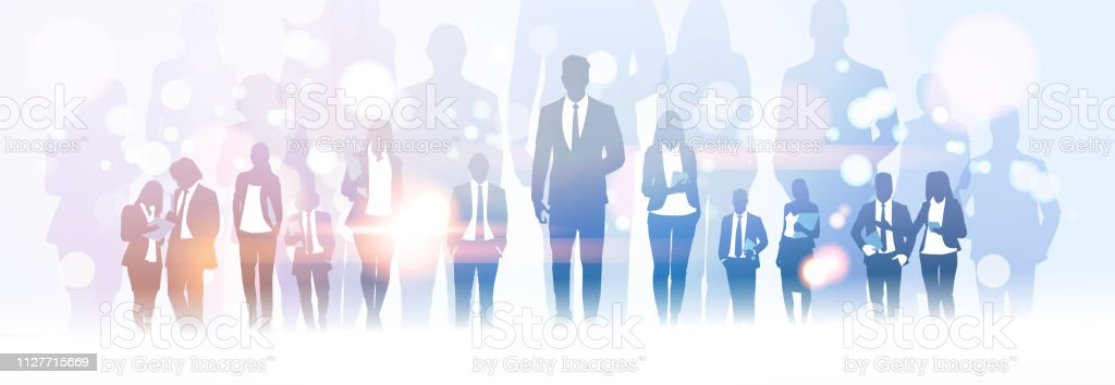 Businessman Team Leader Standing Out From Businesspeople Group Crowd Business Man Boss Leadership Concept Flat Horizontal Banner Full Length Stock Illustration Download Image Now Istock