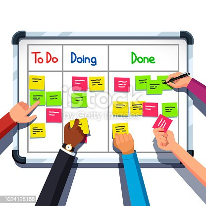 Business people team hands placing sticky notes on planning board. Sticking note on scrum task board. Team planner meeting. Scrum task board and teamwork concept. Flat vector isolated illustration