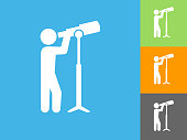 Businessman & Telescope Flat Icon on Blue Background. The icon is depicted on Blue Background. There are three more background color variations included in this file. The icon is rendered in white color and the background is blue.