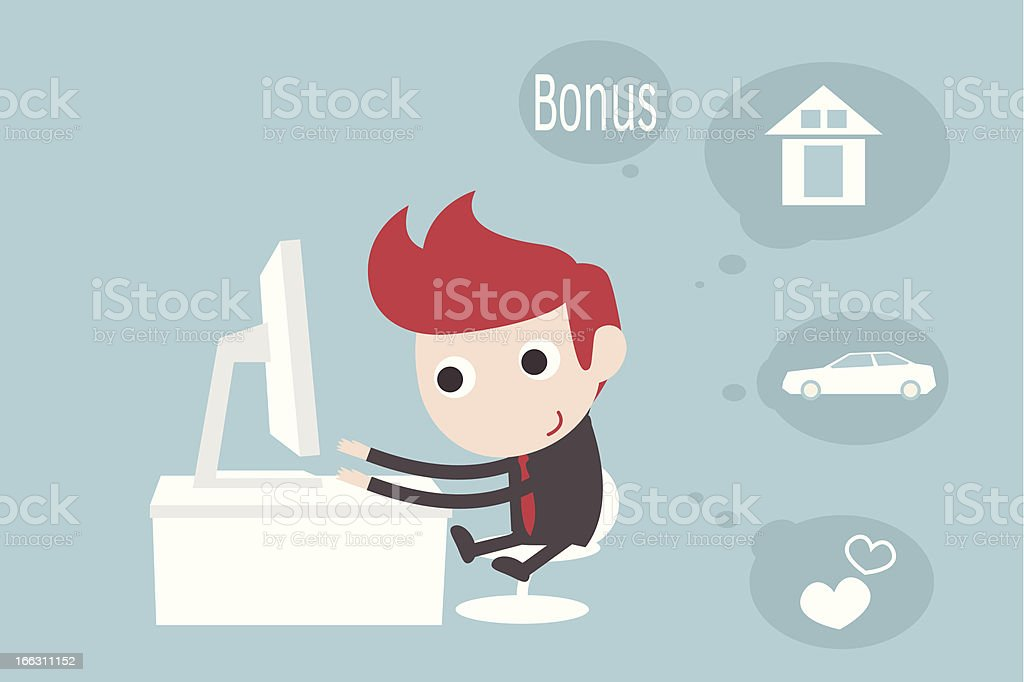 Businessman Thinking About Bonus royalty-free businessman thinking about bonus stock vector art & more images of adult