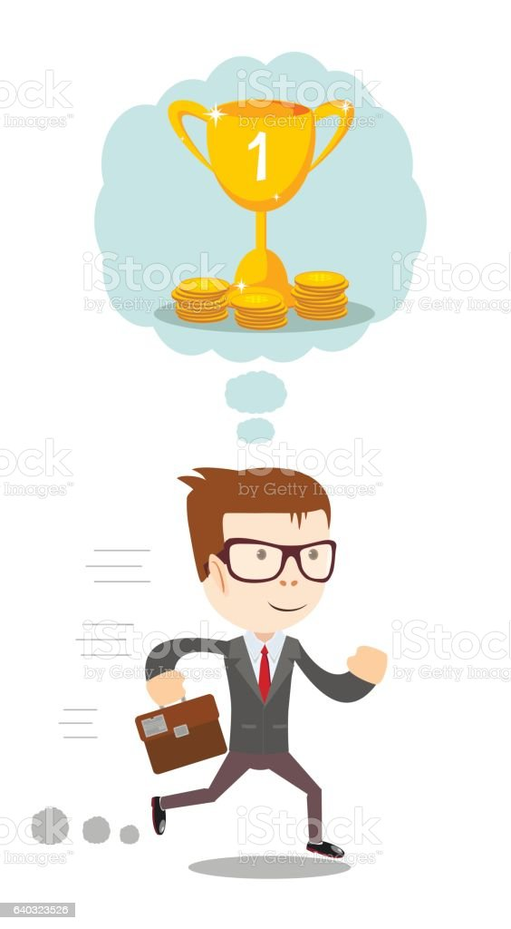 businessman thinking about money vector art illustration