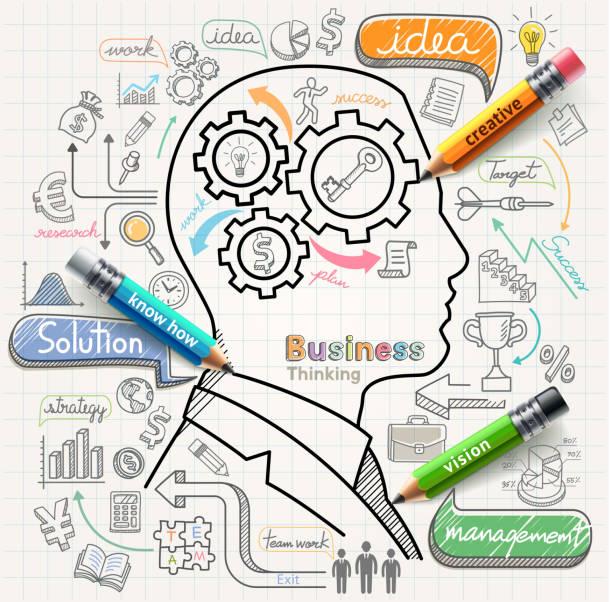 Empresário pensando conceito rabiscos ícones definido. - ilustração de arte em vetor