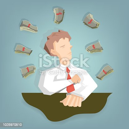 businessman thinking everything is money (Success Business concept cartoon illustration)