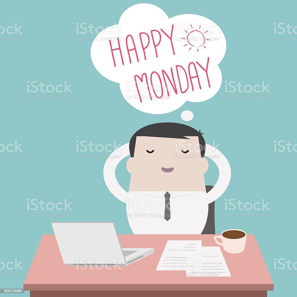 Businessman thinking happy Monday - Vector vector art illustration