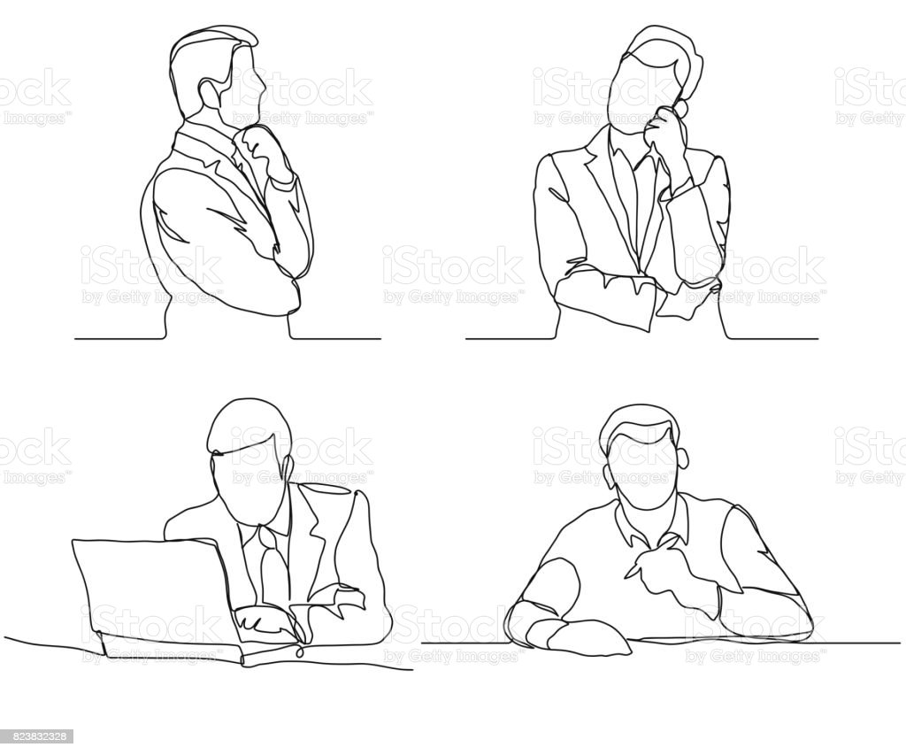 Businessman thinking linear design, continuous line, Thoughtful man with laptop outline vector art illustration