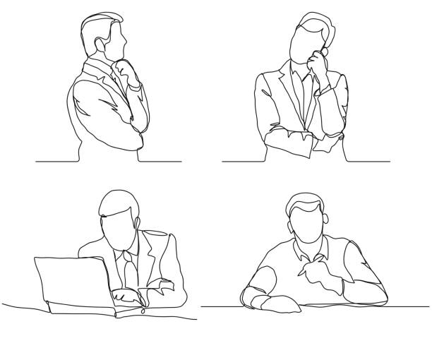 Businessman thinking linear design, continuous line, Thoughtful man with laptop outline Businessman thinking linear design, continuous line art, Thoughtful man with laptop outline. Vector single object stock illustrations