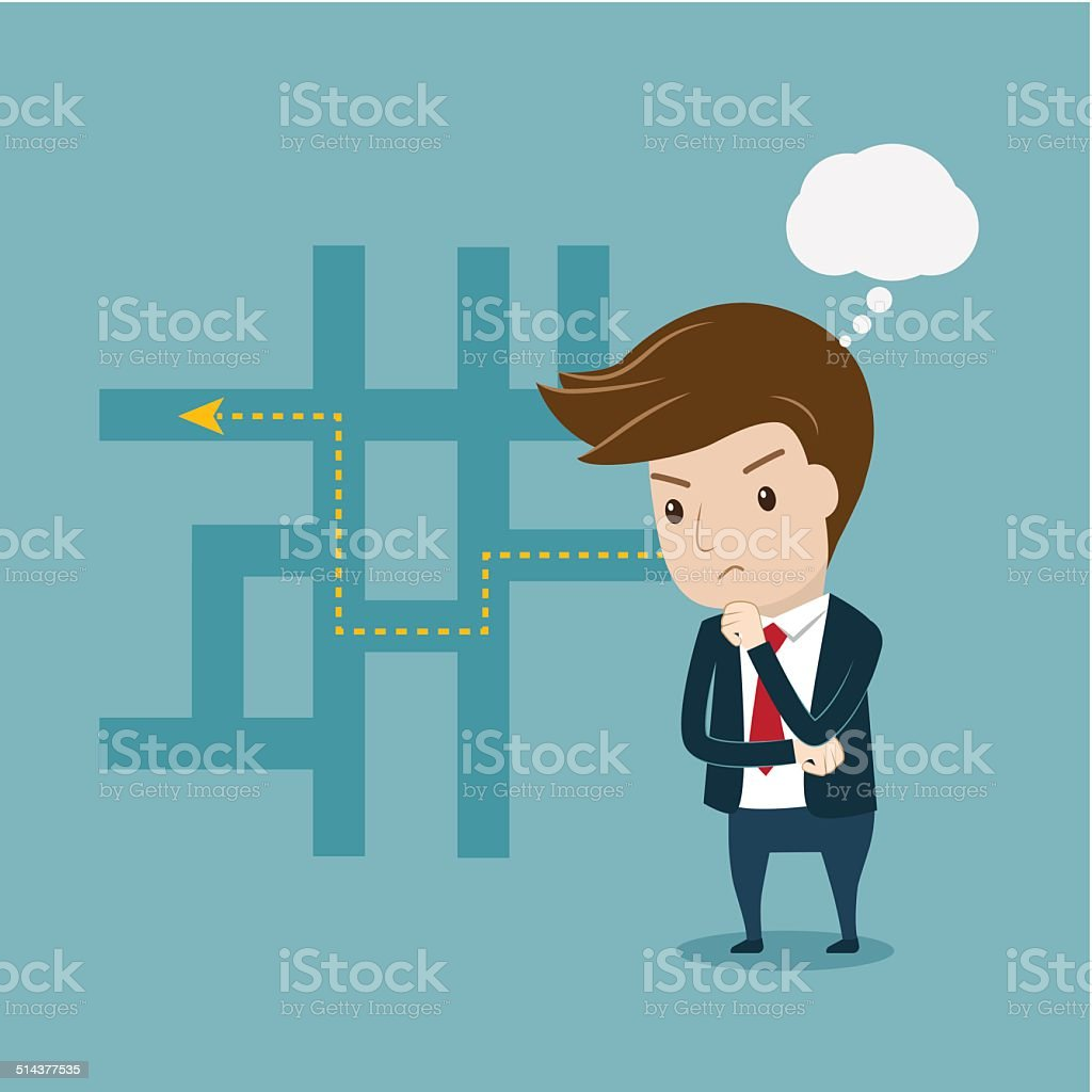 Businessman thinking of his plans vector art illustration