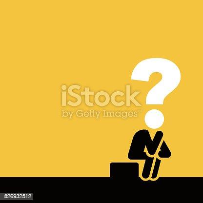 Businessman thinking, vector illustration.