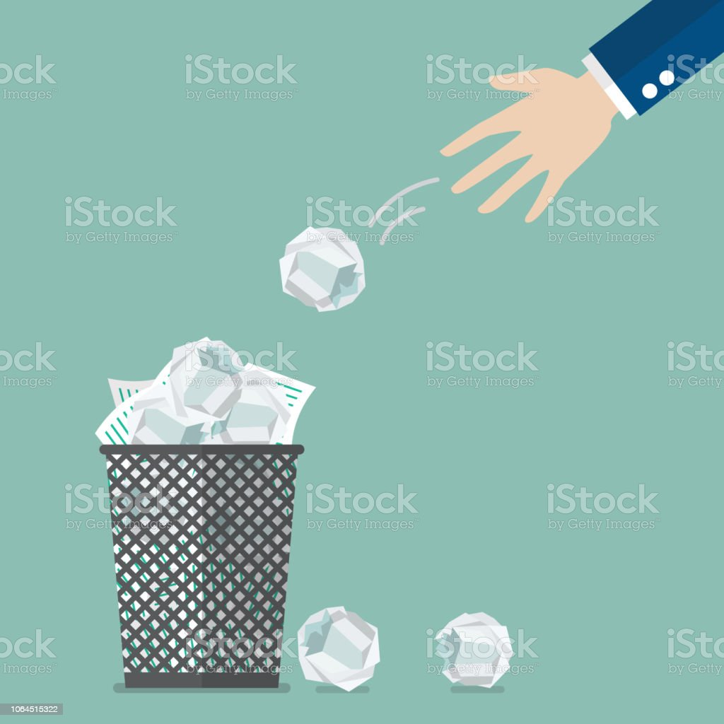 Businessman throwing crumpled paper to trash vector art illustration