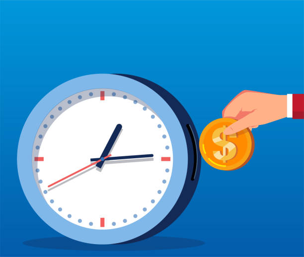 Businessman throwing gold coins into clock Businessman throwing gold coins into clock time is money stock illustrations