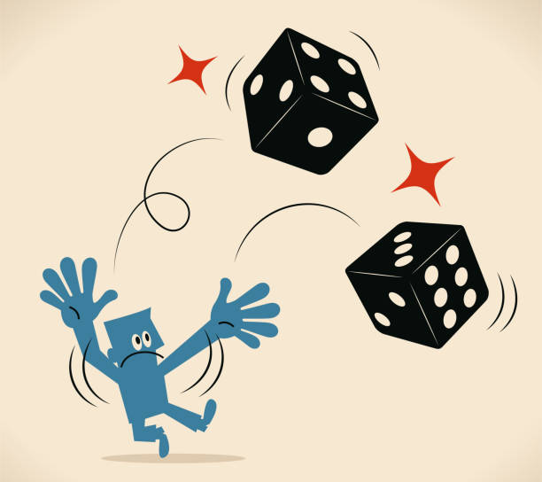 Businessman throwing two dice vector art illustration
