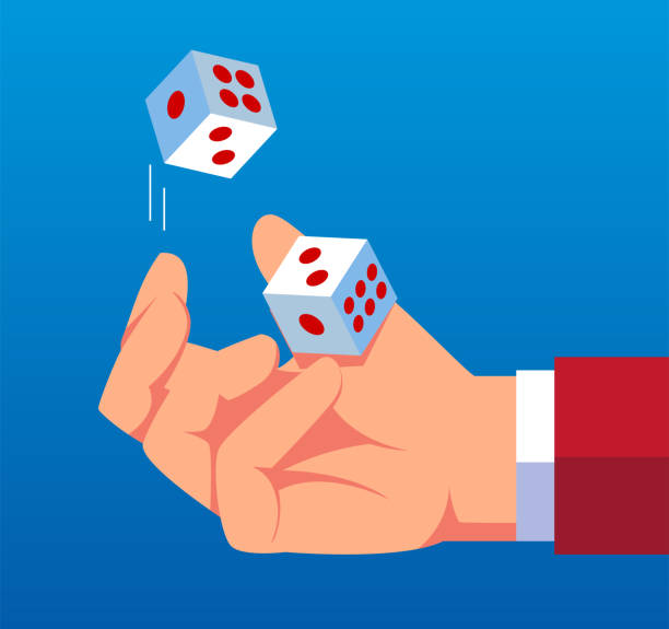 Businessman throws dice up Businessman throws dice up rolling stock illustrations