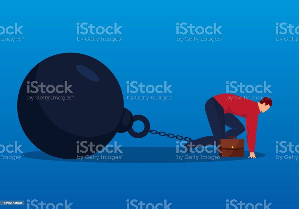商人在起跑線上綁著一個巨大的鐵球 - 免版稅不高興的圖庫向量圖形