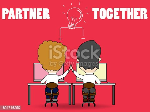 istock Businessman together giving hand clap in office 821716250
