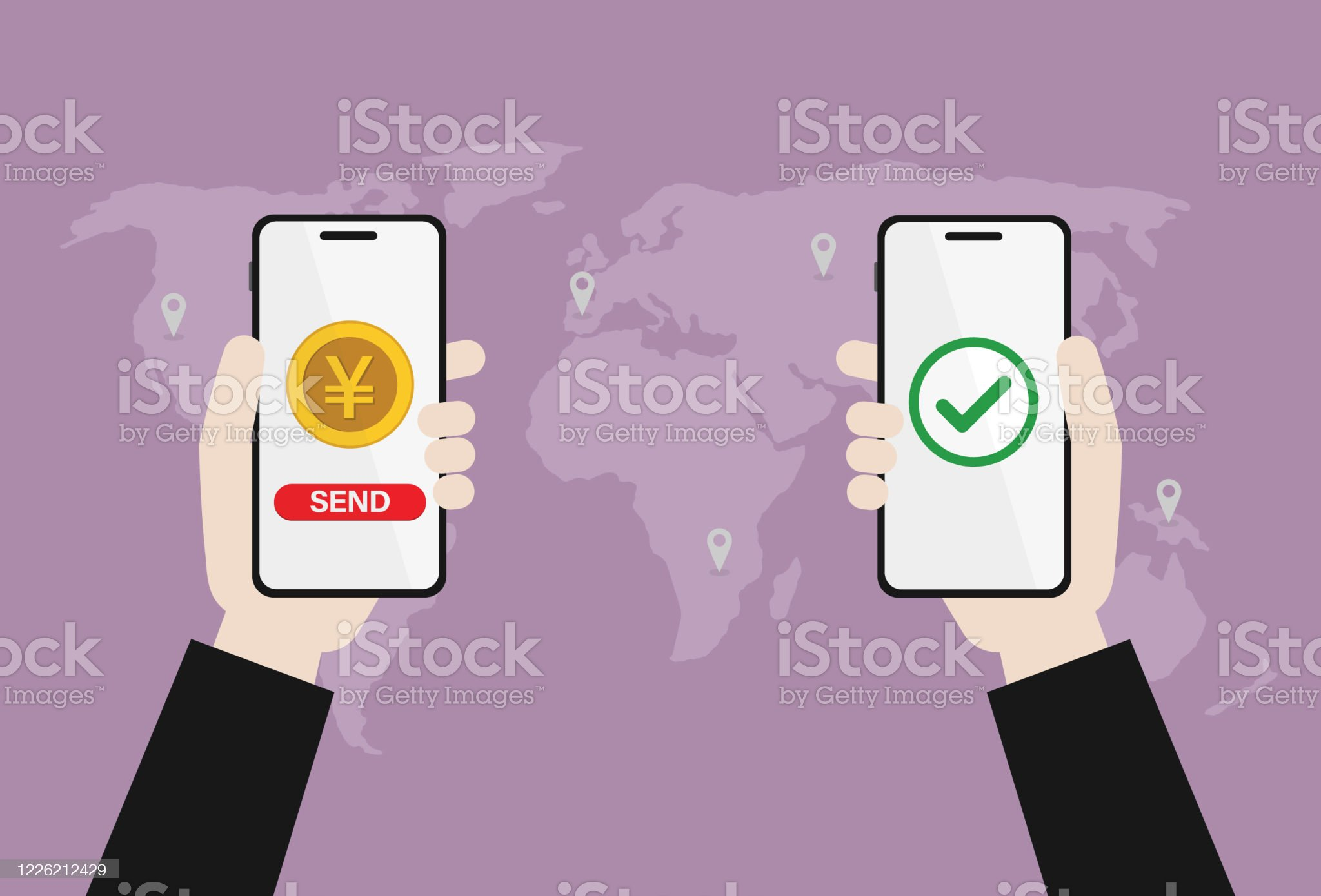 Businessman transfer a Japanese currency by mobile phone Send money, Transfer money, Money transfer, Payment, Yen coin, Mobile banking, Yuan coin, Chinese currency Digitally Generated Image stock vector