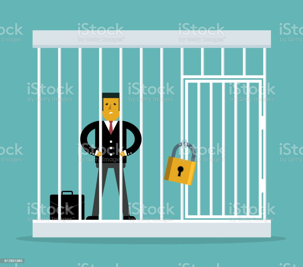 Businessman trapped in a cage vector art illustration