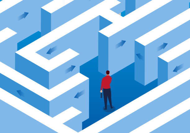 businessman trapped in a maze - lost stock illustrations